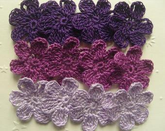 Appliquéd flowers crocheted cotton purple tone, 3 cm