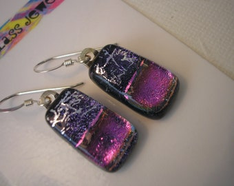 Earrings Dichroic Glass, Blue Violet with Fuschia Purple, Iridescent Fused Glass, Purple Jewelry, Silver Wires, Hand Shaped Dangles, Boho