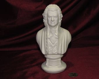 Ceramic Bisque U-Paint Bust Johann Sebastian Bach Unpainted Ready to Paint DIY Composer Musician Vintage Classical Music PYOP