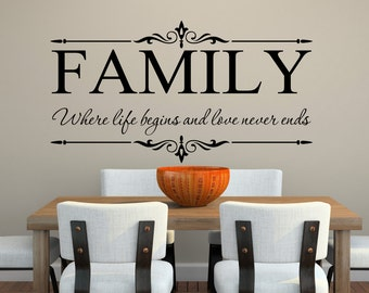 Family Where Life Begins And Love Never Ends   Family Wall Decal   Vinyl Wall  Decal