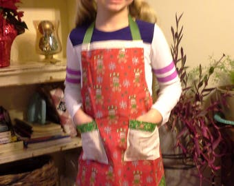 Christmas Apron with Chef Hat, Colorful Child Apron, Christmas Gift, Girls Gift,Gingerbread Men Apron,