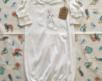 Hand Embroidered Peter Rabbit White Cotton Baby Gown / Take Home Outfit / Coming Home Outfit / Ready to Ship