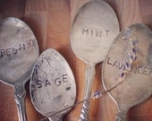 Silver Spoon Herb or Plant Label -  This listing is for ONE herb/plant marker