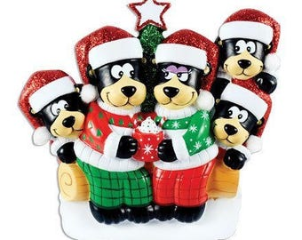 Black Bear with Hot Chocolate Family of 5 Personalized Christmas Tree Ornament