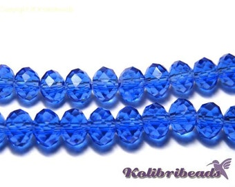 Faceted Glass Briolette Beads Rondelle Beads 6mm - Sapphire
