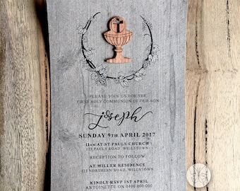 Rustic First Holy Communion Invitation // Wooden Chalice // 120 x 180mm