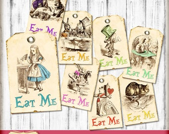 Alice in Wonderland tags - decorations - Wonderland theme party - tea party - Eat Me tags - party printables - Instant Download