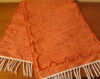 Handmade woven table runner | Orange table runner | Home decor | Kitchen decor |