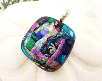 Fused glass dichroic jewelry,  dichroic pendant, rainbow jewelry, fused glass art, artisan jewelry, jewelry handmade,  dichroic glass