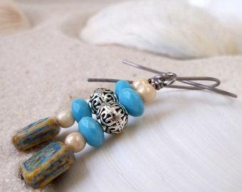 Titanium Earrings - Hypoallergenic Earrings - Earrings for Sensitive Ears - Dangle Earrings - Bead Jewelry - Bead Jewelry - Blue Earrings