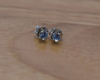 3mm Genuine Aquamarine Stud Earrings