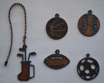 Rustic Rusty Rusted Recycled Metal Sports Decor Golf Bag/Basketball /Baseball/Football/