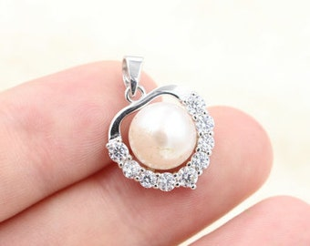 White pearl pendant, freshwater pearl s925 sterling silver pendant,zircon love pearl necklace,L-BM-0553