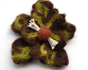 Flower brooch, wet felted wool flower pin, felt jewelry, brown and green, felt flower hair clip, gifts for her, corsage, big flower
