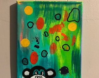 Monkey on Abstract Acrylic Paint 8x10 canvas