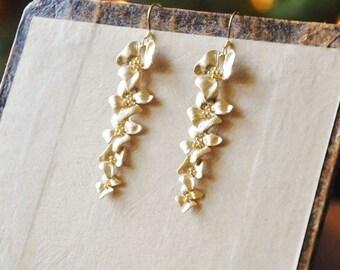 Gold Dogwood Earrings - Long Earrings, Gold Earrings, Statement Earrings, Feminine Earrings, Gift for Mom, Pretty Earrings, Flower Earrings
