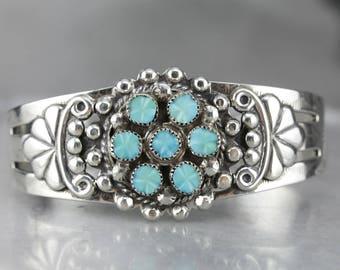 Native American Turquoise Sterling Silver Cuff Bracelet MK01W338-D