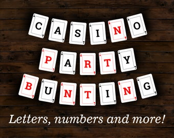 CASINO/POKER themed printable party bunting/banner/flags