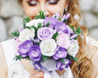 Lilac bouquet Alternative bouquet Bouquet of lilacs Keepsake bouquet Bridal Bouquet Wedding Bouquet Bridesmaid bouquet White bouquet Purple
