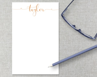 Personalized Notepad / Monogram Notepad / Calligraphy Hearts Custom Notepad