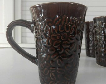 Kahlua Coffee Mugs / Coffee Bean / Vintage Coffee Mugs / Brown Stoneware Mugs  / Brown Coffee Mug / Coffee Lover Gift / Rustic Brown Pottery