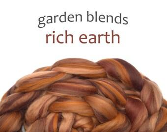 Blended Merino roving - spinning fiber - 100g/3.5oz - browns- Garden Blends - RICH EARTH