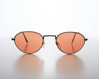 Copper Colored Lens Oval Frame 90s Vintage Sunglass  - Hope