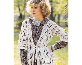 Filet Crochet Jacket Pattern Light Motif Sweater Crochet Pattern Beach Cover Womens PDF Instant Download- C207