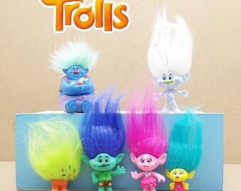 CAKE TOPPER - 6 pcs Trolls Figure Set Custom Birthday Party Decor DIY Figurines