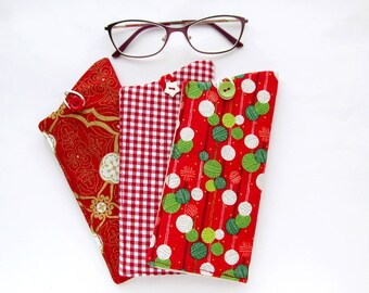 Red Eyeglass Case, Soft Glasses Case, Eye Glass Case, Gingham Sunglass Case, Knitting Balls, Pouch for Glasses, Red and Gold Glass Holder