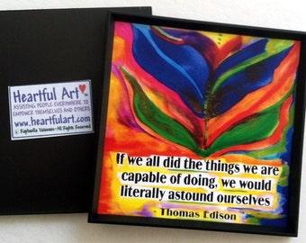 If We All Did THOMAS EDISON Magnet Inspirational QUOTE Motivational Print Kitchen Decor Graduation Saying Heartful Art by Raphaella Vaisseau