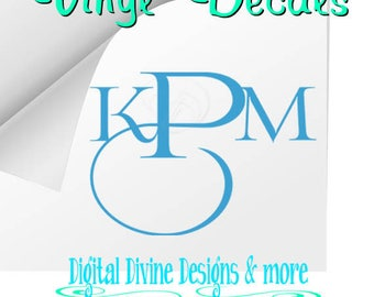 Contemporary Monogram Vinyl Decal, Your choice of colors