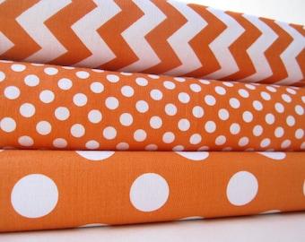 Orange Fabric Half Yard Bundle - Small Chevron, Small Dot, and Medium Dot from Riley Blake Designs - 1.5 Yards
