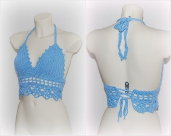 Any size yoga top bra, hippie bohemian look, musthave summer wear, summer trend, boho vibes, beach style, blue halter crochet crop top