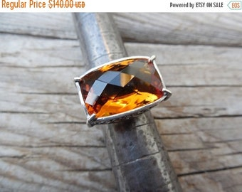 ON SALE Beautiful Madeira citrine ring handmade sterling silver