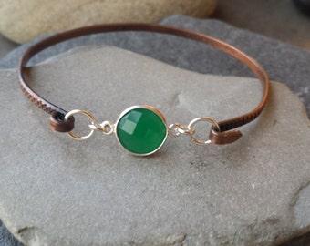 Copper Stacking  Bangle bracelets Green Onyx Gemstone , Mixed metal bangle,Layering stacking bangles, Green Onyx  Bangle bracelet
