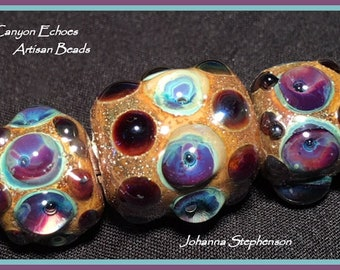 BIG HOLE  Purple Blue and Gold Bead Set by Canyon Echoes