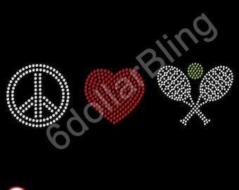 "Rhinestone Iron On Transfer ""Peace, Love, Tennis"" Sports Crystal Bling Design"