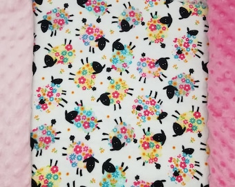 Custom minky baby blanket flannel lambs and flowers