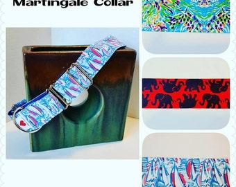 Martingale Dog Collar 1.5 inch, Lilly Pulitzer Inspired, Preppy Martingale Dog Collar, Dog Supplies, Dog Leash, Dog Collar