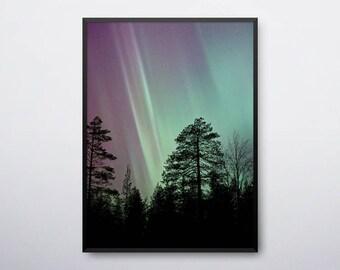 Northern Lights Print, Aurora Borealis Art, Northen Sky Lights, Tree Art Print, Trees, Aurora Printable, Aurora Borealis, INSTANT DOWNLOAD