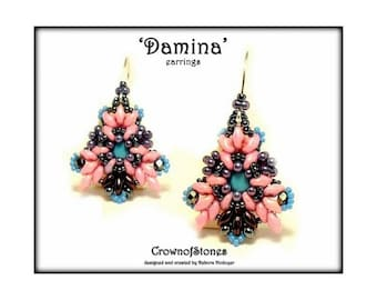 Bead Pattern instructions DIY earrings Damina with Swarovski and Superduo Beads