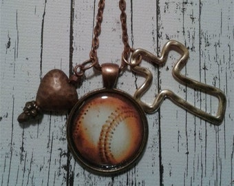 Baseball, Heart and Cross Necklace