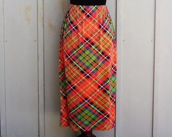 Orange Plaid Skirt - Colorful Tartan Skirt - Elastic Waist Skirt - Vintage 80s Skirt - Midi Skirt - Retro Mod Skirt - Soft Skirt - Indie