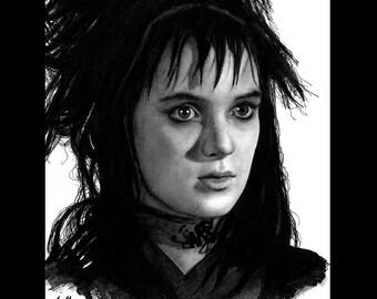 Impression 8 x 10» - Lydia Deetz - Beetlejuice Winona Ryder adolescent Tim Burton Goth gothique Vintage Pop Art horreur sombre mignon Michael Keaton Lowbrow