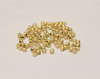 3mm GOLD plated spacers, Gold spacers, Gold round spacers, glitter spacers