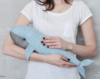 Stuffed Whale Toy -  Blue Whale - Stuffed Toy - Animal Toy - Nautical Nursery - Ocean Nursery - Birthday Gift -  Nautical Baby Shower Gif