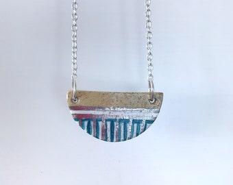 """Silver semi-circle ceramic pendant, 20"""" chain, half circle necklace, white gold, handmade pendant, handmade ceramic necklace, stripe pendant"""