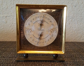 Beautiful! Desktop Nautical Weather Station/Thermometer/Humidity by Wittnauer Antique Brass/Goldtone