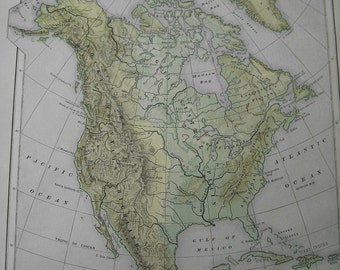Large 111 year old color map of North America